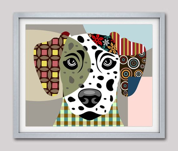 Delightful Dalmatian Art Print Poster, Dalmatian Dog Pet Portrait Pop Art, Animal Art,  Dog Painting, Dog Wall Art