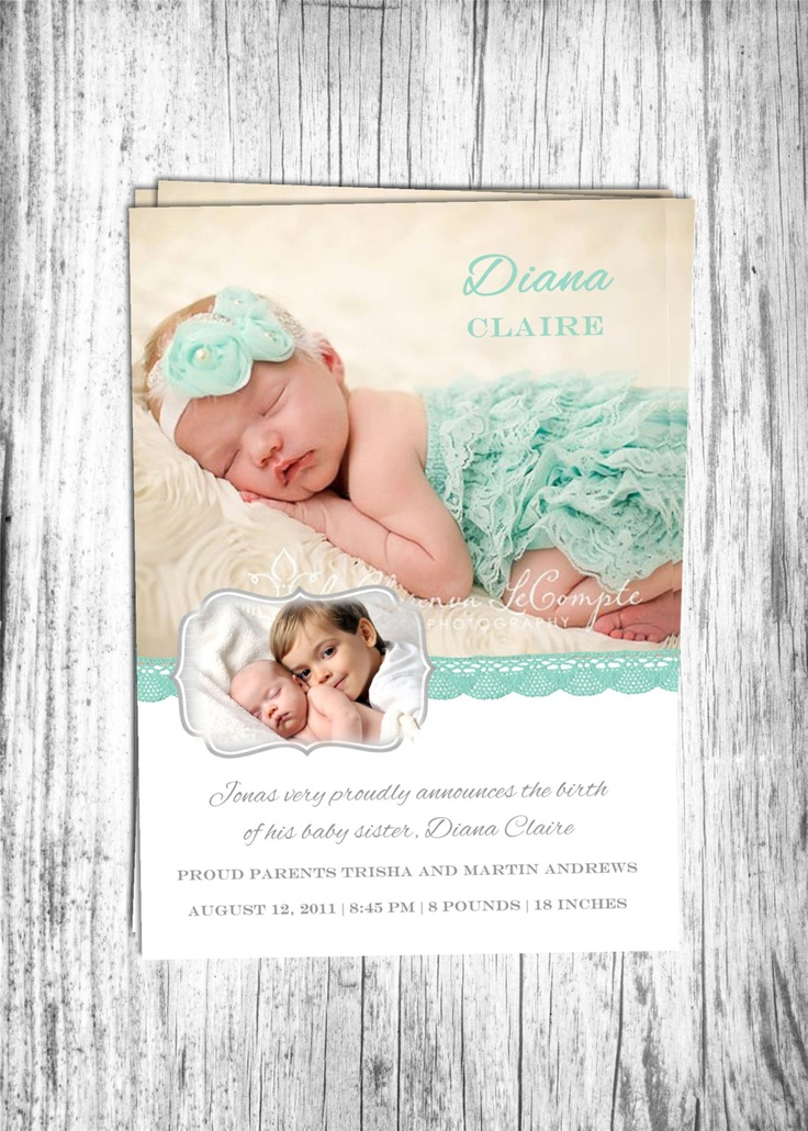 Baby Birth Announcement Boy or Girl and Sibling Printable Digital File.