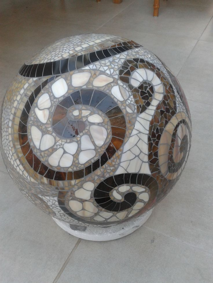 Mosaic ball, stained glass. Every tile handmade. 40 cm. By Jacqueline Misset. Visit MozaiekMisset on Facebook: www.facebook.com/...