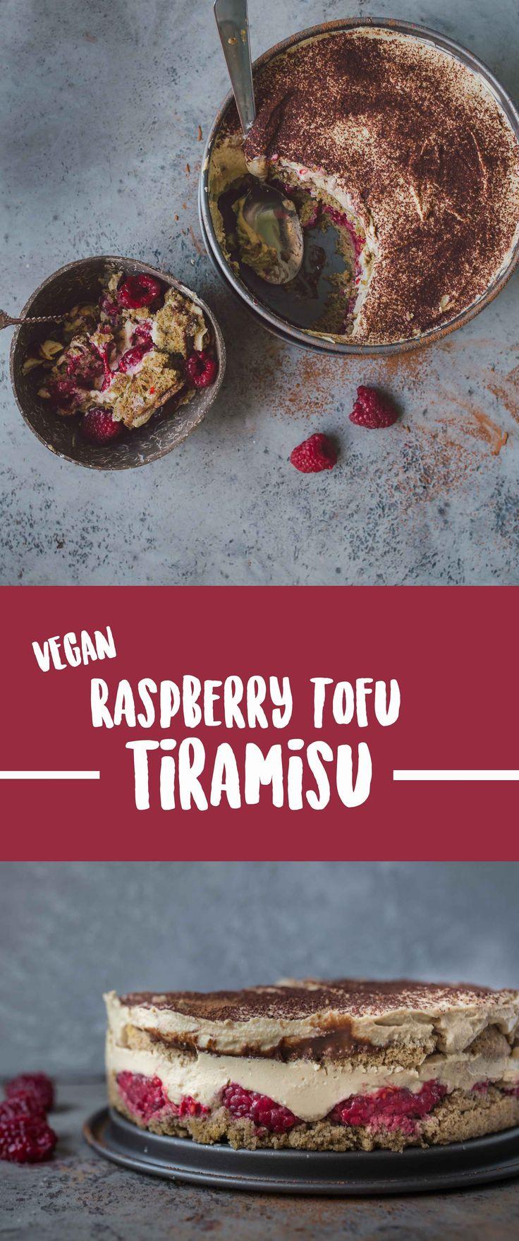 Light Raspberry Tofu Tiramisu
