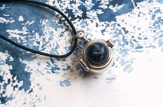 Silver Ball Locket Necklace Nautical Steampunk Unisex Jewelry
