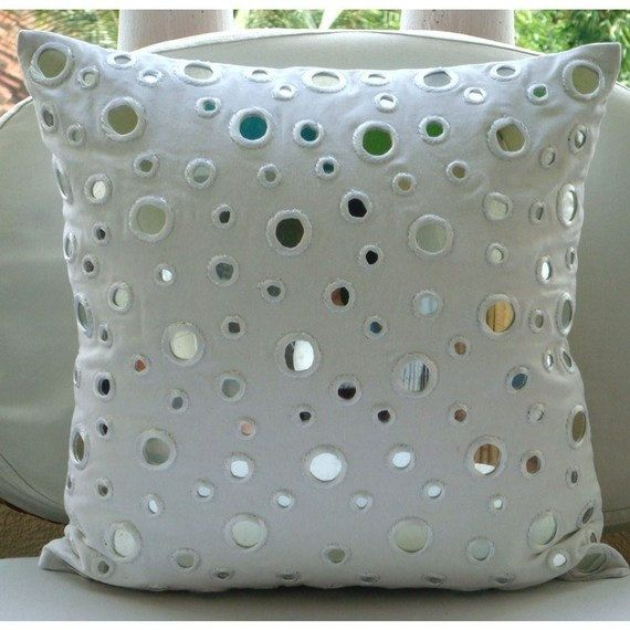 Decorative Pillows With Mirrors : White Mirror Embroidered Throw Pillow