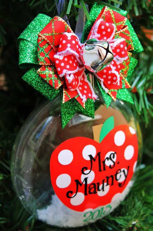 School Teacher Apple #1 Best Teacher 2013 Christmas Ornament Polka Dot Ornament Personalized Custom Birthday Christmas Ornament