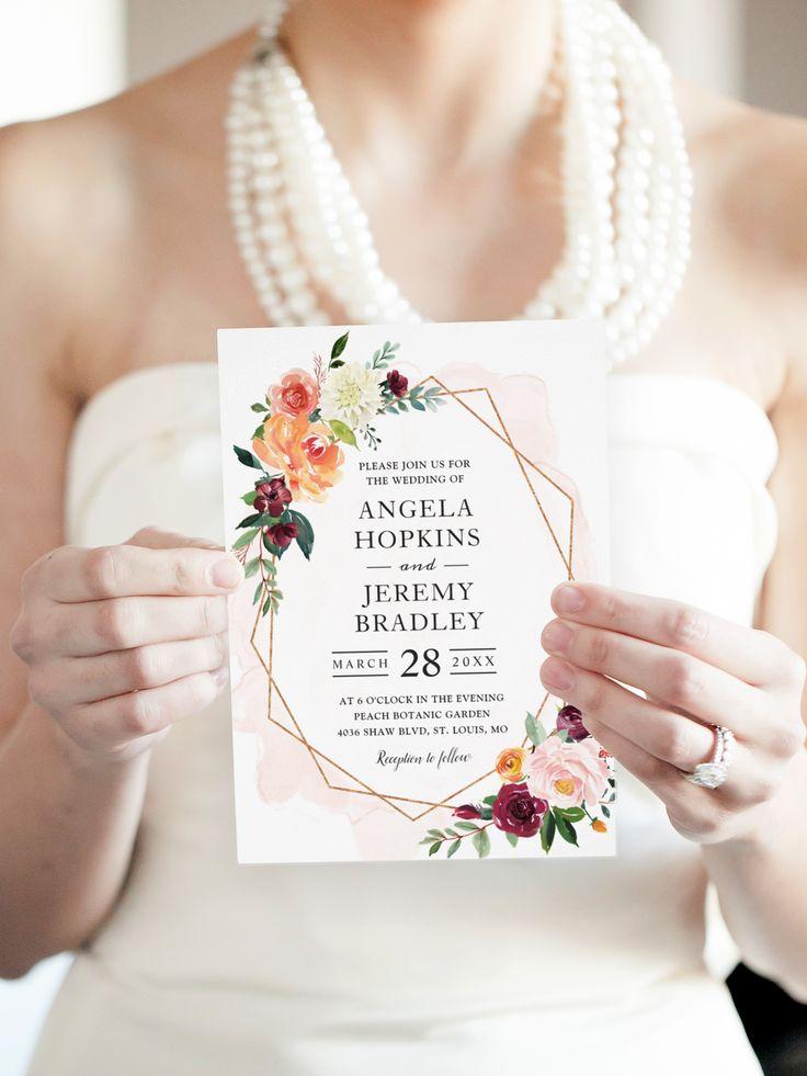 luau wedding invitation templates%0A Modern Geometric Blush Bloom Floral Chic Wedding Card