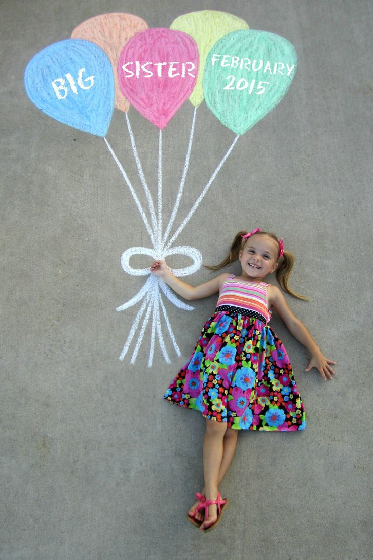 Pregnancy Announcement - Sidewalk Chalk Balloons...Big Sister:)!