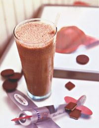 Post-run smoothie.  1 cup milk, 1 ripe banana, 2 tbs peanut butter blended until smooth.