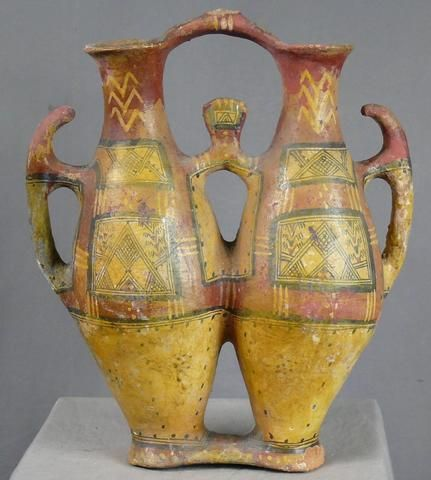 Cruche double taqlilt ancienne en terre cuite polychrome for Decoration kabyle