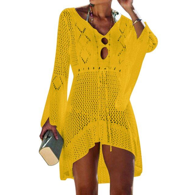 Women crochet solid coverup beach wear summer mesh beach dress cover up swimwear knitting bath suit tunic robe