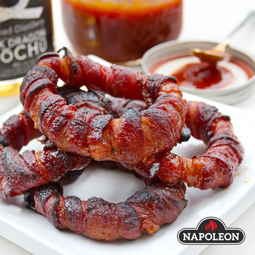 Bacon Wrapped Onion Rings With Shōchū BBQ Sauce