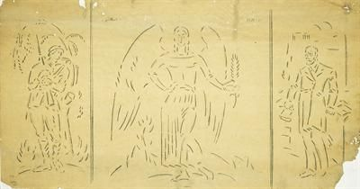 """Φιλική Εκτύπωση Παρθένης Κωνσταντίνος (1878/1879 - 1967) Τρίπτυχο της """"Νίκης"""", 1915 - 1919 Μολύβι σε λαδόχαρτο , 50 x 92 εκ. Δωρεά Σοφίας Παρθένη , Αρ. έργου: Π.6563"""