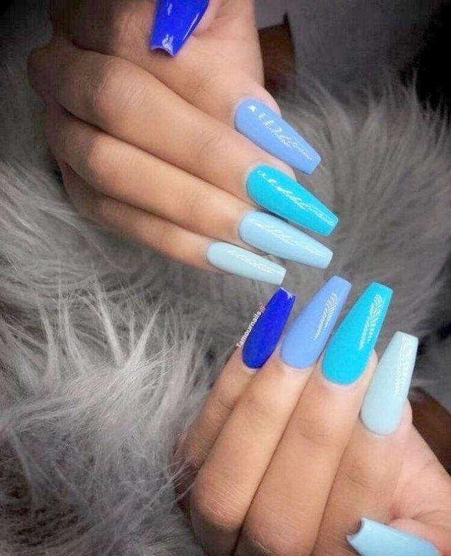 Dongcrystal 24pcs Gray Matte French Fake Nails Long Full Cover