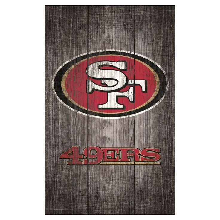 "NFL San Francisco 49ers Distressed Wood Logo 11"" x 19"" Sign - Gray"