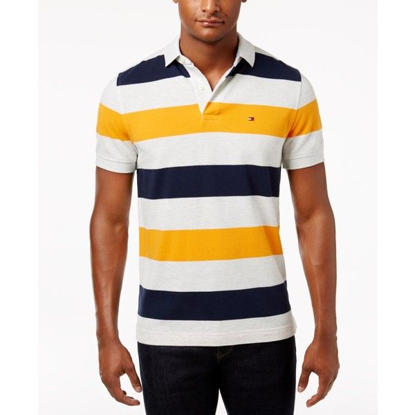 Tommy Hilfiger Men's Classic-Fit Striped Cotton Polo (€54) ❤ liked on Polyvore featuring men's fashion, men's clothing, men's shirts, men's polos, flame orange multi, tommy hilfiger mens shirts, mens striped shirt, mens polo shirts, mens classic fit shirts and men's cotton polo shirts