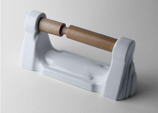 Porta-rollos porcelana madera baño aseo lavabo clásico rústico