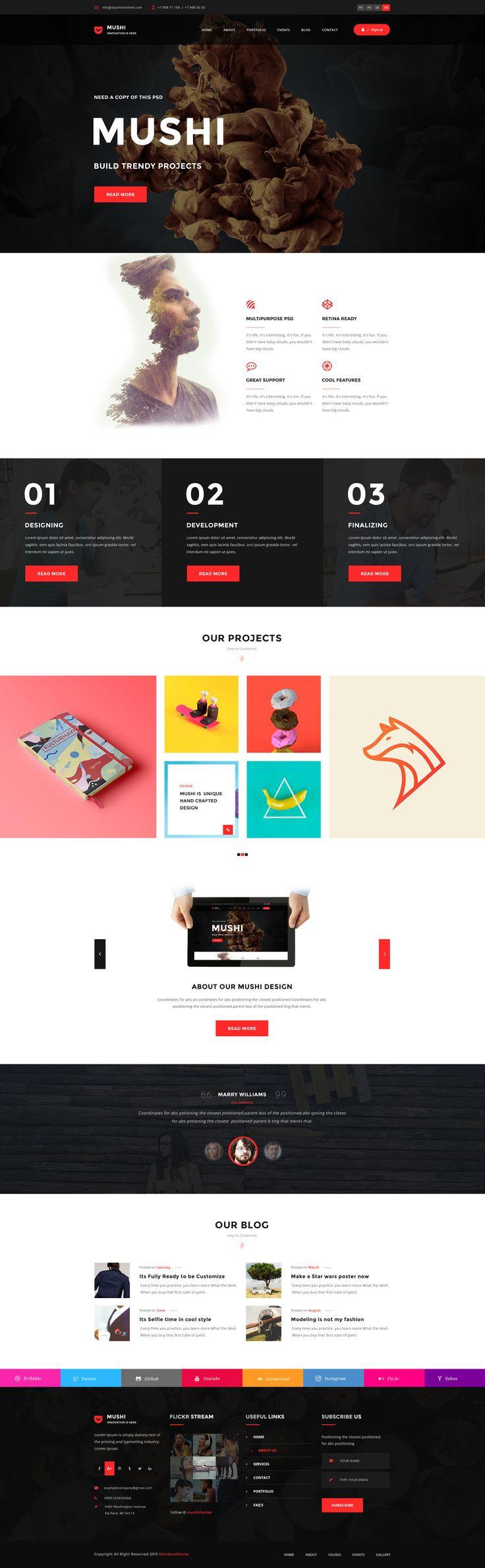 multipurpose psd template mushi website ideaswebsite designspsd templates simple - Simple Website Design Ideas