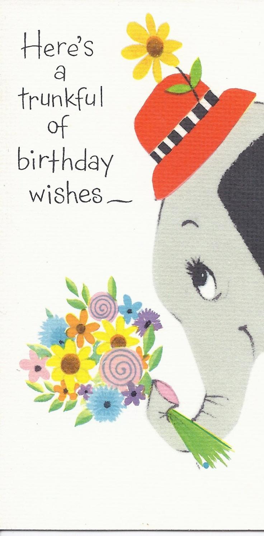 101 best vintage elephant cards images on pinterest vintage cards vintage happy birthday greeting card forget me by jarysstuff kristyandbryce Image collections