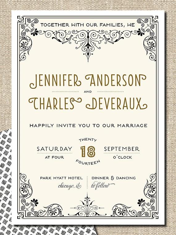 printable DIY wedding invitation suite  JENNIFER by lepoetikstudio, $50.00
