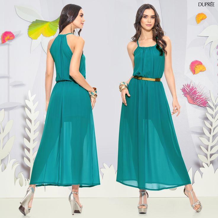 Vestido largo turquesa semitransparente. Outfit Mujer Dupree