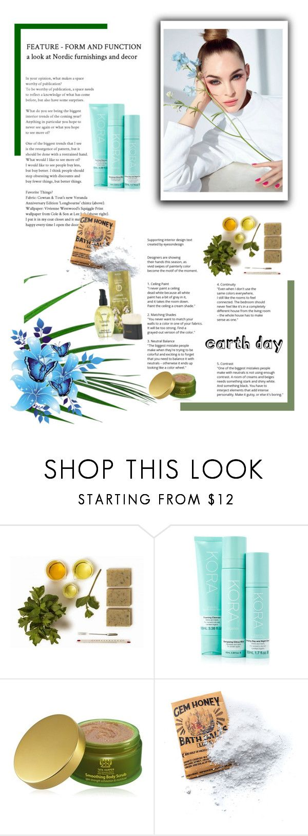 """Earth Day Essentials: All-Natural Beauty"" by malinda108 ❤ liked on Polyvore featuring beauty, KORA Organics by Miranda Kerr, Tata Harper, Wild Honey Apothecary, Aveda and earthday"