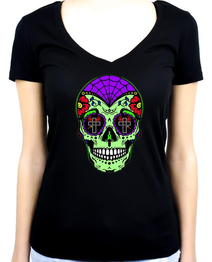 """Green Sugar Skull Women's V-neck Shirt """"Dia De Los Muertos"""" Day of the Dead"""