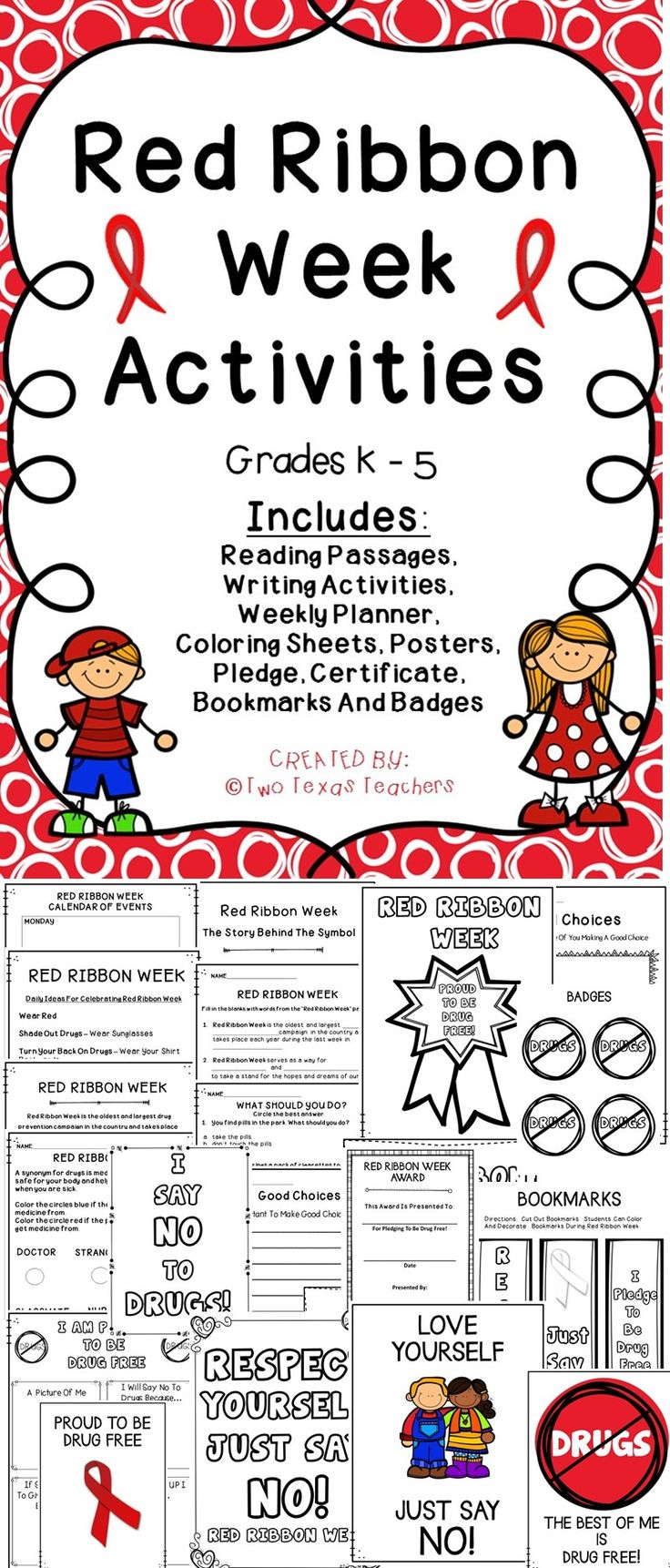 Red Ribbon Week - Celebrate Red Ribbon Week With This Printable Activity Pack For The Classroom. #redribbon