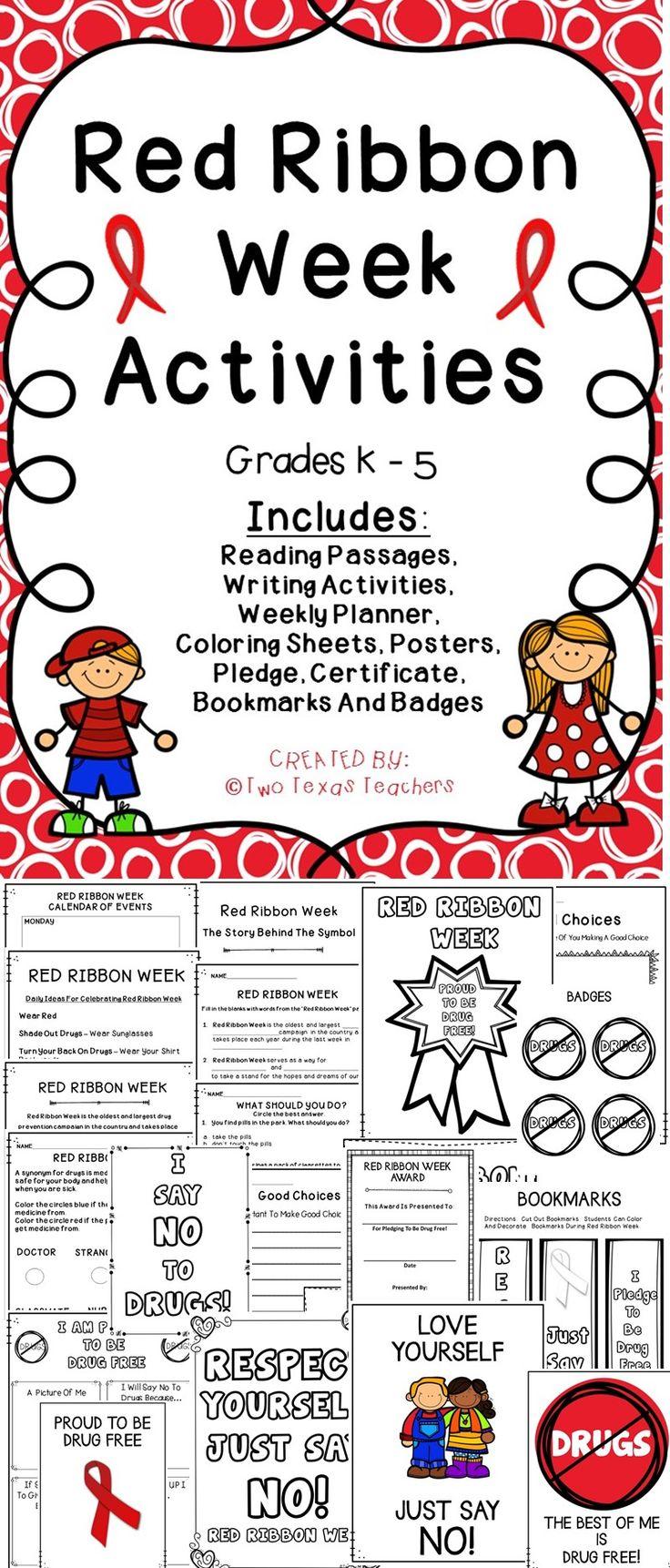 Monster image in red ribbon week printable activities