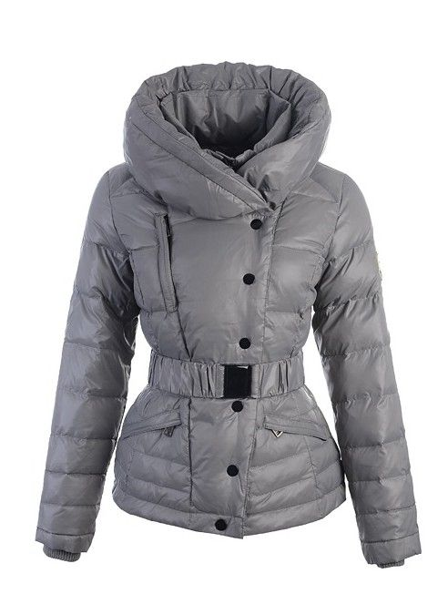Trendy Moncler Rosean Womens Hooded Down Jacket With Elastic Belt Grey
