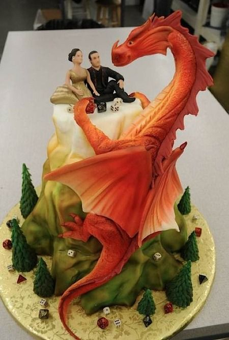 This wedding cake looks more like a porcelain sculpture! The couple loved Dungeons and Dragons, btw, which is why the dice are scattered around