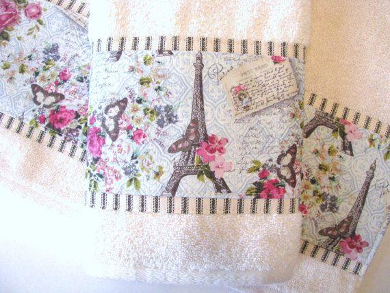Paris Towel, cream, hand towels, Vintage Paris. bathroom, towels, hand towel, pink bathroom, bath decor, august ave, paris, paris stamp