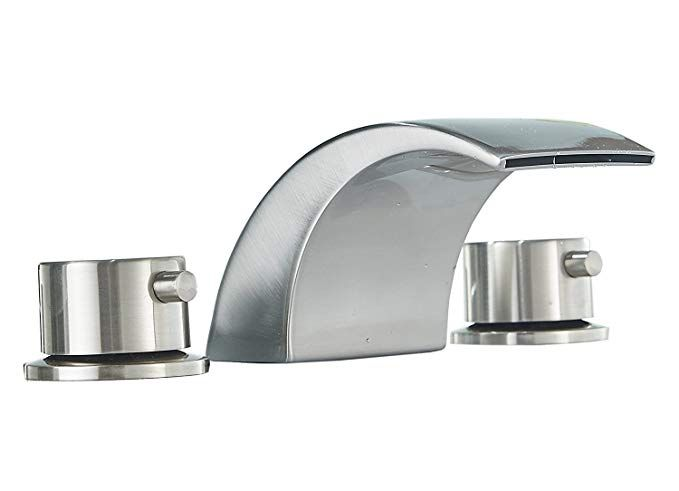 Homevacious Widespread Bathroom Sink Faucet Led Light Waterfall Bath Tub Brushed Nickel 8 16 Inch 2 Handles 3 Holes Lavatory Modern Contemporary Faucets Deck Mo Bathroom Sink Faucets Brushed Nickel Bathroom Faucets