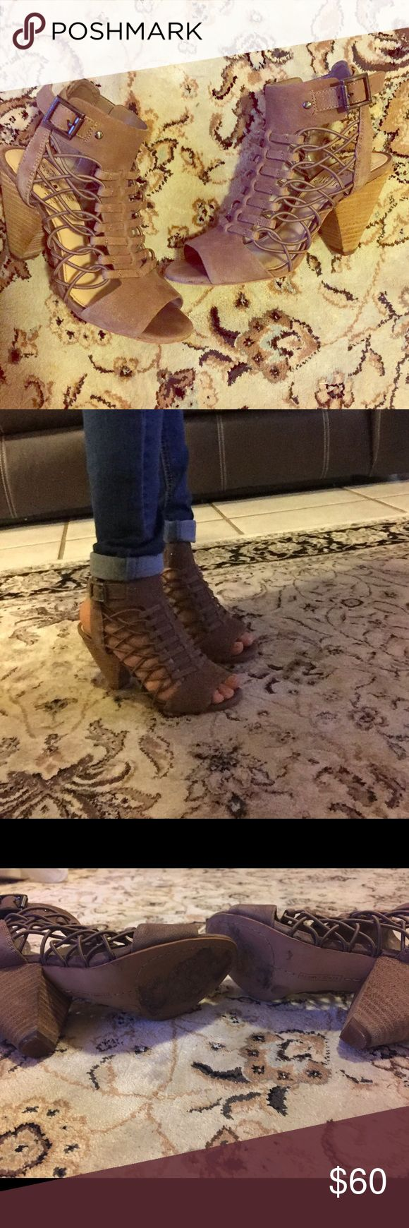 """Vince Camuto Evel Sandals Vince Camuto Evel leather sandal in dark beige with 3.5"""" heel Vince Camuto Shoes Sandals"""