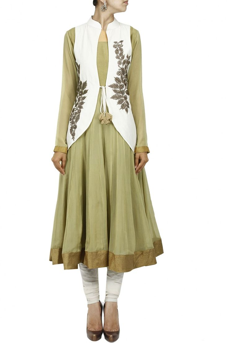 Olive green anarkali with ivory embroidered jacket by EKRU. Shop now only at www.perniaspopups... #perniaspopupshop #ekru #love #kurta #etnic #embroidered #exquisite #shopnow #happyshopping