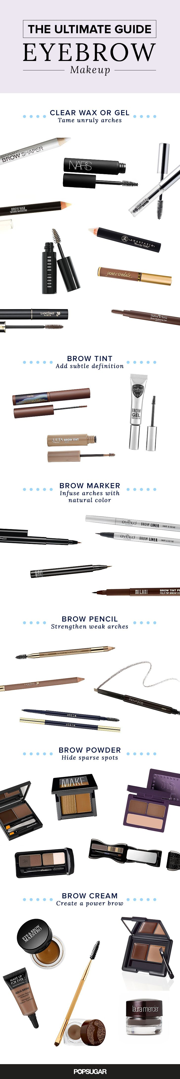 Want the best eyebrows of your life? This guide to brow makeup is here to help! Figure out whether wax, gel, tint, marker, pencil, powder, or cream is right for your arches.