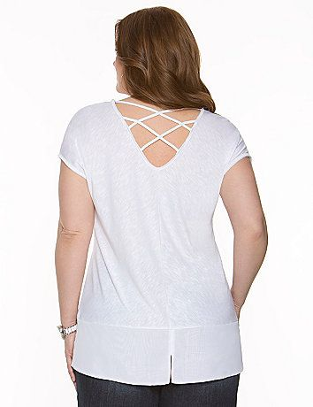 With a trendy high-low silhouette and chiffon hem, this short-sleeved slub tunic breezes its way into the season. #LaneBryant