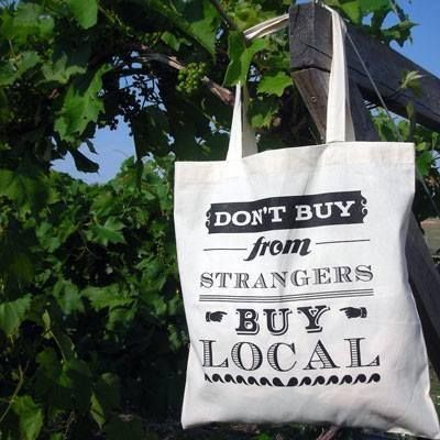 "inspiration photo for htv or freezer paper stenciling (I'd probably go with something more like ""Shop local. Buy handmade."""