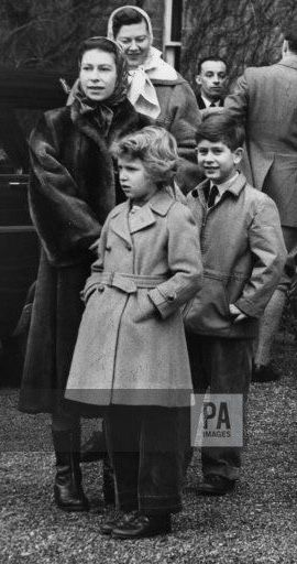 9 January 1958, Queen Elizabeth II, Prince Charles, and Princess Anne attending the meet of the West Norfolk Foxhounds at Westacre.
