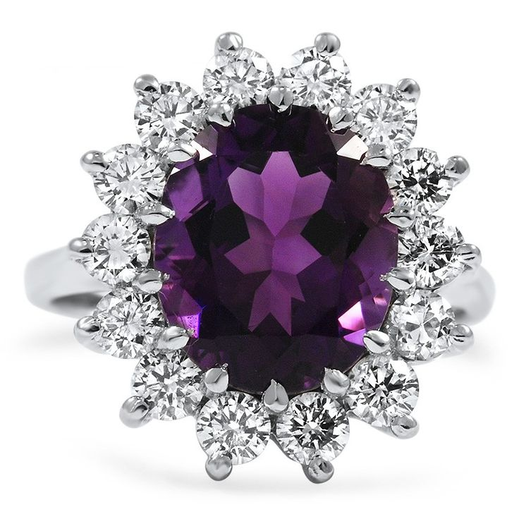 The Royal Ring from Brilliant Earth.In a breathtaking modern design, an oval-shaped amethyst is surrounded by fourteen round brilliant diamond accents. This lavish white gold ring has an unmistakably antique beauty (approx. 1.40 total carat weight).