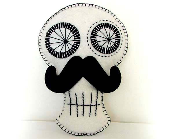 Movember Mustache Pillow Sugar Skull by The Doll City Rocker on Etsy.