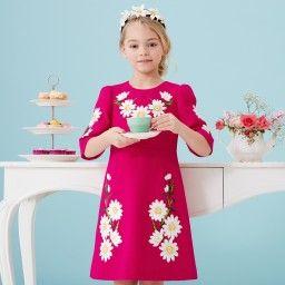 Dolce & Gabbana - Cyclamen Pink Wool Crêpe Daisy Dress | Childrensalon