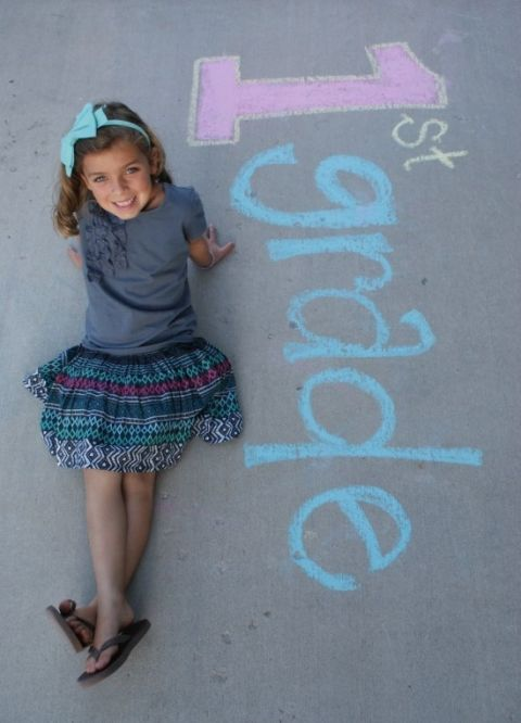Get creative with chalk for the first day of  school picture