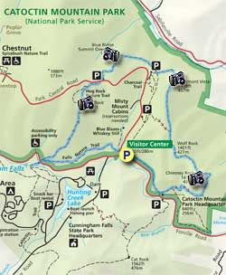 8.4 mi hike in Catoctin Mountain Park - hits all the major sites like Chimney Rock, Hog Rock, and Cunningham Falls!
