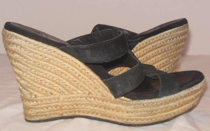 Ugg Australia Tawnie Black Suede Wedge Sandals Size 8 Summer Slide Heels #UGGAustralia #PlatformsWedges