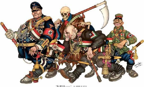 Il Duce. (Hermann Goering, Benito Mussolini and Emperor Hirohito) During the war, Death frequently appeared in Szyk's work wearing a German uniform or accompanying Nazi leaders.