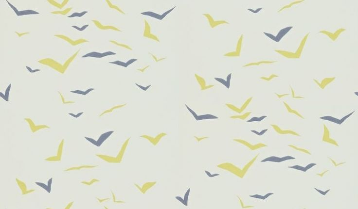 Flight (110209) - Scion Wallpapers - A stylized design of flying birds - showing in blue and lime green on a off white background. Other colour ways available. Please request a sample for true colour match. Paste-the-wall.