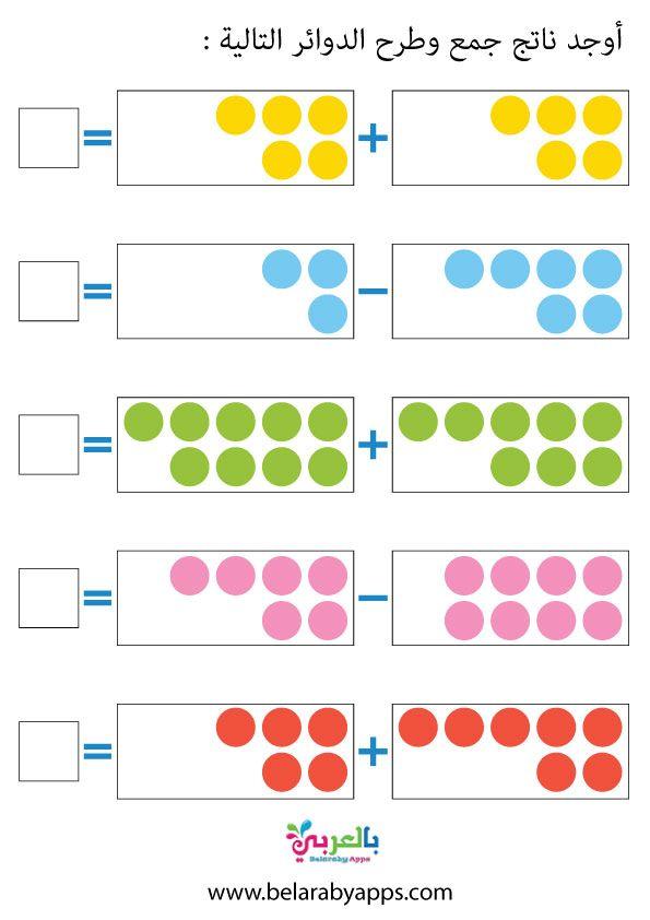 اوراق عمل رياضيات رياض اطفال تمارين على الجمع والطرح بالعربي نتعلم Math Activities Preschool Alphabet Preschool Preschool Math