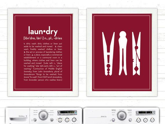SET Definition of Laundry and Clothespins  by letteredandlined