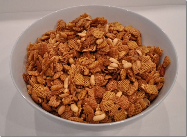 My neighbor Debbie's version of this is the best! - (she uses the corn chex ) : 5-6 cups Cheerios, crispix, or chex cereal (whatever your preference)  1 cube butter , 2/3 cup brown sugar .   Cook butter and brown sugar over medium heat until it gets really bubbly and then cook a couple minutes longer.  Pour over cereal, stir, and then lay out on wax paper to cool.