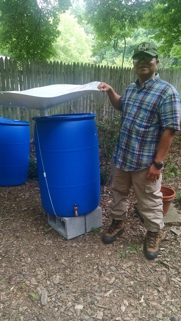 """Proud owner of a 48"""" RainSaucer from Virginia. He says setup was """"straightforward"""" and that the system is already working """"satisfactorily"""". He says the water is mainly for his garden and as a backup water source, If the need arises."""
