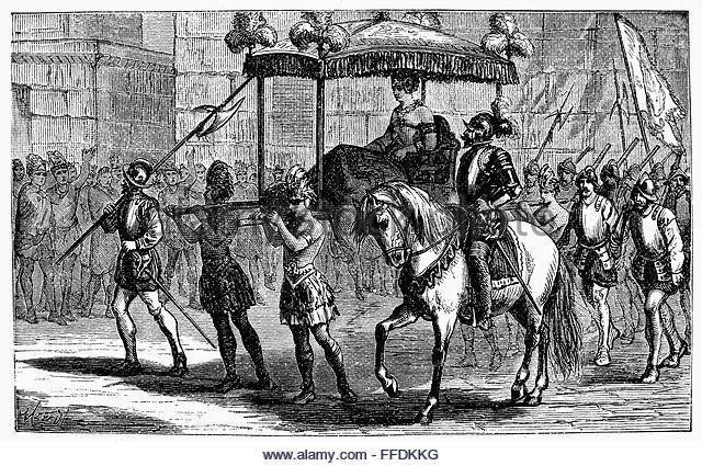 FRANCISCO PIZARRO /n(c1475-1541). Spanish conqueror of Peru. Pizarro's entry into Cuzco, Peru. Wood engraving, 1879. - Stock Image