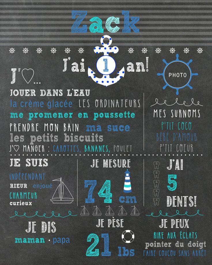 """Affiche personnalisée 1er anniversaire """"Nautique"""" - 20$ #chalkboard"""